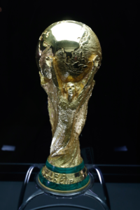 The FIFA World Cup trophy. Most recently, it was broken on the filed by the German team after winning it.
